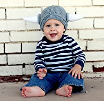 Milk protein cotton yarn handmade viking hat - fits 3-12 months baby