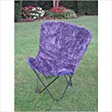 Caravan Folding Faux Fur Butterfly Chair with Matching Carry Bag Fabric Col ....