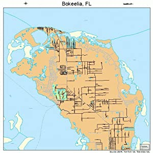 Large Street & Road Map of Bokeelia, Florida FL - Printed poster size wall atlas of your home town