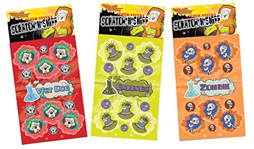 Dr. Stinky's Scratch N Sniff Stickers 3-Pack- Zombie, Wet Dog, Garbage 81 Stickers