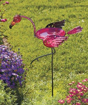 Metal & Glass Pink Flamingo Birdbath Yard Stake 36-1/2″ X 10-1/4″ X 7″ Bowl6″ Dia. X 2″