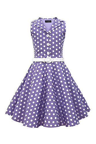 BlackButterfly Kids 'Holly' Vintage Polka Dot 50's Dress (Purple, 11-12 YRS) (Girls Vintage Dress compare prices)