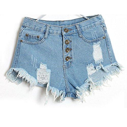 tongshi Sexy americani US Flag Mini Shorts Jeans Shorts denim vita bassa (28/M, Azzurro)