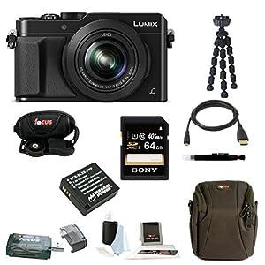 Panasonic LUMIX DMC-LX100 LX100 DMC-LX100K Digital Camera (Black) + Sony 64GB SDXC Class 10 Memory Card + Card Reader + Wasabi Replacement Battery + Case + Accessory Bundle