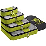 Chameleon PACKING CUBES for Travel - Set of 4 Mesh Luggage Organizers with Shoe Bag (Green)