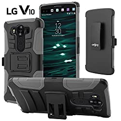 LG V10 Case, CellJoy [Ultra Rugged Hybrid] {Gray} LG V10 H900 H901 VS990 **ShockProof** Reinforced Impact Shield Bumper Protection Case Cover **Kickstand** [Locking Swivel Belt Clip Holster Combo]
