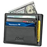 Kinzd Slim Front Pocket Leather Wallet for Mens Card Case Holder RFID Blocking