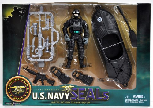United States Navy Seal Figure Playset with Accessories and Watercraft - 1