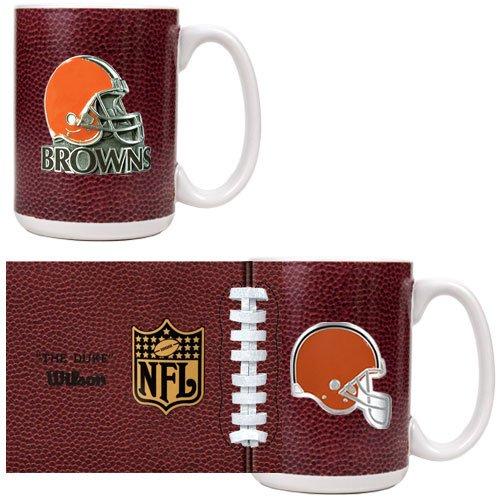 Cleveland Browns 2-Piece Gameball Coffee Mug Set (Primary Logo & Helmet Logo)