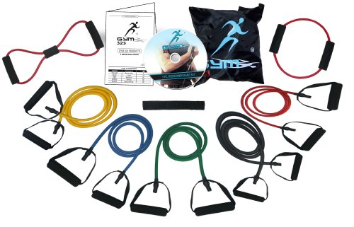 Model-601.9 Pc Gym323® 226lbs of Extreme Resistance Band Set for Men and Women. with D.L.T (Double Dipped Latex Tubes)DVD And O-8 Shaped included.