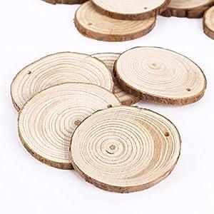 25PCS 5CM Wooden Wood Log Slices Discs Natural Tree Bark