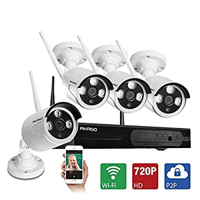AKASO WIFI Security/Wireless Video Surveillance System, 4CH HD 720P Home Security, Remote Monitoring/CCTV IP Camera, Auto-Pair, Built-in Router, Outdoor Weatherproof, Without HDD (Mode:WS1M-401)