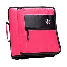 Case-it 2-Inch Round Ring Zipper Binder with Velcro Messenger Front, Neon Pink (M-276-NeoPnk)