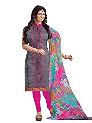 Blissta Grey Chanderi Unstitched Embroidered Dress Material