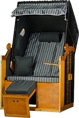 Strandkorb Ostee Single PE schwarz Dessin Royal Grau Strandkörbe Einsitzer fertig aufgebaut von MR-DEKO bei Gartenmöbel von Du und Dein Garten
