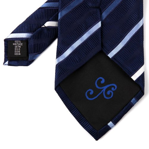 Blue Stripes Woven Silk Tie Hanky Cufflinks Gift Box Set Navy New Year's Day gift H5175 One Size Navy