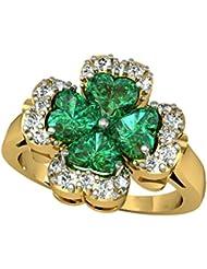 Suvam Swarovski Crystal Floral Design Green Stone Gold Plated 92.5 Sterling Silver Ring - B01JSB9PHU