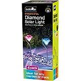 Cambia de color acero inoxidable de jardín lámparas LED solares de diamante de cristal (4 luz Solar para jardín)