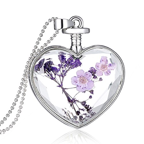 dry-flower-glass-heart-pendant-ball-chain-necklace-gift-silver