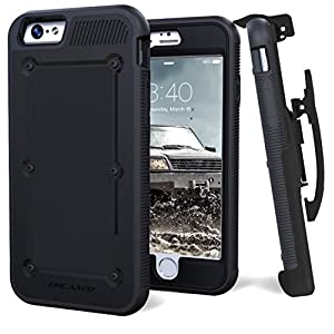 iPhone 6S 6 BallisticSHIELD Triple Layer Mil-Spec Engineered Armor Case W/ Belt Clip  Kickstand - One Handed Quick Release - Black (By Encased)