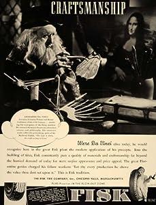 1937 Vintage Ad Fisk Tire Company Leonardo da Vinci - Original Print Ad