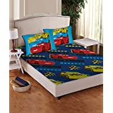 Disney- Athom Trendz- Cars Cotton Double Bed Sheet Set- Blue