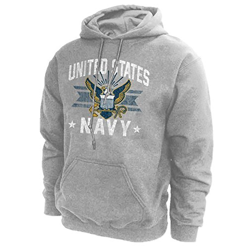 US Navy Vintage Hooded Sweatshirt L Grey (United States Navy Sweatshirt compare prices)