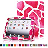 Fintie Folio Case for iPad 4th Generation with Retina Display, the New iPad 3 & iPad 2 Slim Fit Stand Smart Cover with Auto Sleep / Wake Feature - Giraffe Pink