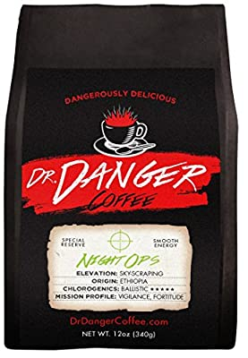 Dr Danger Coffee NIGHT OPS - DECAF Scientifically selected and roasted - whole bean - special reserve - 12oz