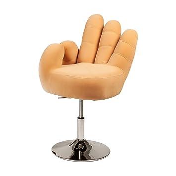 Sillón Cribel mano, de metal cromado, microseda, Amarillo