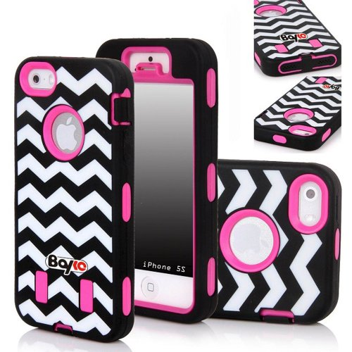 Bayke Brand Premium Armorbox Armor Defender Case for Apple Iphone 5 5S (5C Not Fit) Fashion Navy Chevron Design High Impact Dual Layer Hybrid Full-body Protective Case (Hot Pink / Screen Protector not Include) at Amazon.com