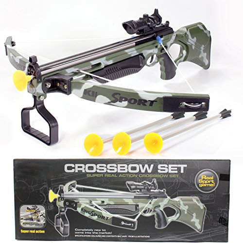 """Toy Crossbow for kids with Scope & Arrows, Archery Compound Bow 27"""" Long, Suction Dart, Target Pratice, Pretend Play, Soft Power Safe Children Game Set [USA Warranty 100% Guaranteed]"""