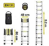 3,2M Nordstrand Aluleiter Teleskopleiter Anlegeleiter Klappleiter mit Tragetasche - EU EN131 Hergestellt