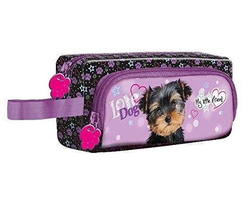 My Little Friend Mon Petit compagno scuola di cane Yorkshire-Astuccio a 2 scomparti, motivo: trousse da toilette