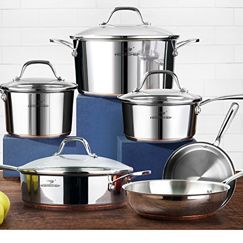 HOMI CHEF 10-Piece Mirror Polished Copper Band Stainless Steel Cookware Set (Nickel-Free, No Coating, 2 Sauce Pans + 2 Fry Pans + 1 Saute Pan + 1 Stock Pot) - Nonstick Cast Iron Stainless Pot / Pan
