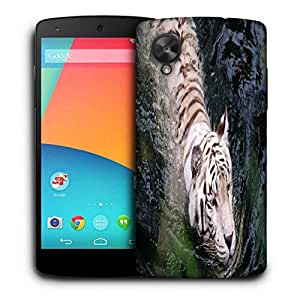 Snoogg White Tiger Printed Protective Phone Back Case Cover For LG Google Nexus 5