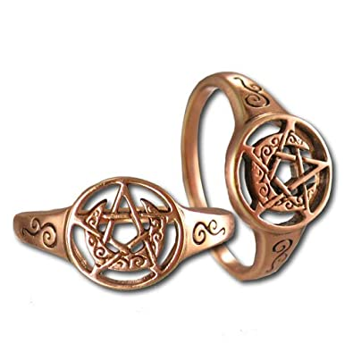 Copper Crescent Moon Pentacle Wiccan Pagan Pentagram Ring (sz 5-12)