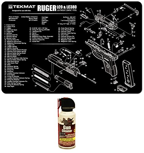 Ultimate Arms Gear Gunsmith & Armorer's Cleaning Work Tool Bench Gun Mat For Ruger LC9 LC-9 LC380 LC-380 Lightweight Light Weight Compact Pistol Handgun + Pro Armorer's Gun Cleaner Lubricant Protector Preservative Jet Action Spray Safe Aerosol Travel Range Field Can Bottle Cleans Loose Dirt, Rust & Corrosion that Damages Metal Parts for Cleaning Firearms Pistols, Revolvers, Rifles, Shotguns
