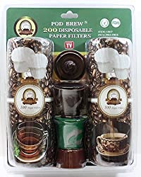 Pod-Brew ® 200 Count Paper Filter Kit for Use with Keurig Single Cup Brewers. Includes 2 Pod-Brew ® High Quality Stainless Steel Mesh Cups & FREE Coffee Scoop
