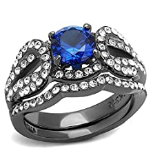 buy 7 Mm London Blue Round Cut Synthetic Spinel Engagement Wedding Ring Sets, Ip Light Black (Ip Gun), Size 5,6,7,8,9,10 (8)