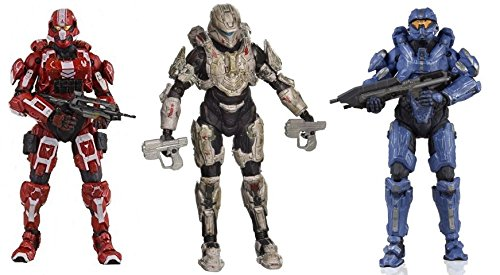 McFarlane Toys Halo 4 Series 3 Exclusive Spartan Soldier Red, Commander Palmer & Spartan Thorne Action Figure Bundle