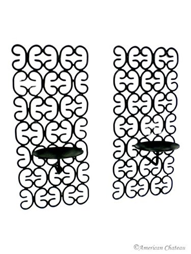 Black Tuscan Set 2 Scroll Wrought Iron Wall Candle Holder Sconce Sconces