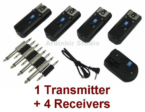 Wireless Radio Remote Flash Trigger 1 Transmitter + 4 Receivers for Both Speedlight Flash and Studio Strobe Light: Alien bees, Balcar, White Lightning, Elinchrom, Bowens, Photogenic, Hensel, Broncolor, Norman
