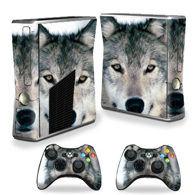 Protective Vinyl Skin Decal Cover for Microsoft Xbox 360 S Slim + 2 Controller Skins Sticker Skins Wolf