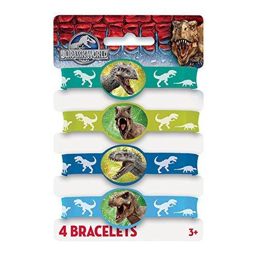 Jurassic World Rubber Bracelets Party Bag Fillers, Pack of 4 by Unique Party (Jurassic World Rubber Bracelets)