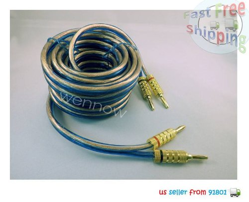 Wennow® 18Ft 12Ga Oxygen Free High Current Parallel Speaker Cable High-Quality W/Banana Plugs