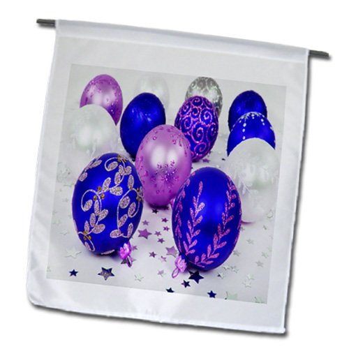 Yves Creations Christmas Decorations - Blue and Purple Christmas Baubles - 12 x 18 inch Garden Flag (fl_36870_1)