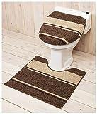 ショコラ 洋式トイレ2点セット (足元マット+フタカバー) 洗浄タイプ ブラウン