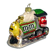 Kurt Adler M&M Glass Train Christmas Ornament