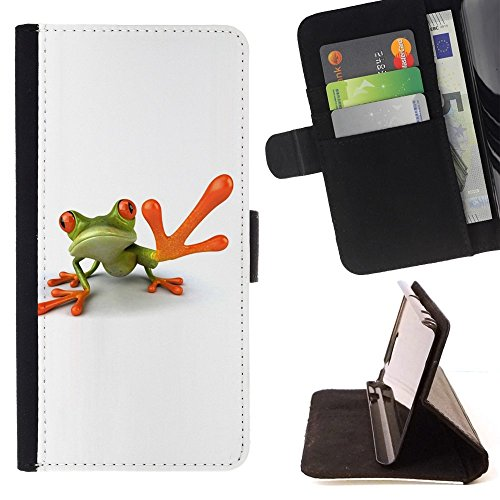 For Sony Xperia Z3 D6603 Case , L'homme grenouille High Five blanc minimaliste - Credit Card Slots PU Wallet Pouch Housse de protection Skin Cas Case Coque